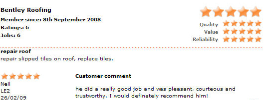 Roofers Leicester Testimonials